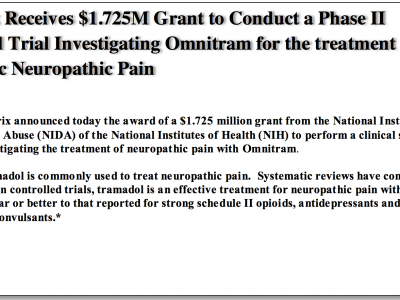 Syntrix Receives $1.725M Grant to Conduct a Phase II Clinical Trial Investigating Omnitram for the treatment of Diabetic Neuropathic Pain