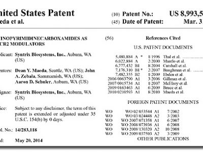 Syntrix Wins U.S. Patent 8,993,541: Aminopyrimidine Carboxamides as CXCR2 Modulators