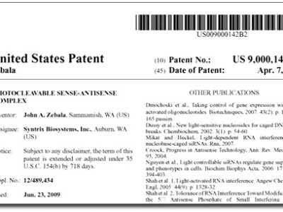 Syntrix Wins U.S. Patent 9,000,142: Photocleavable Sense-Antisense Complex